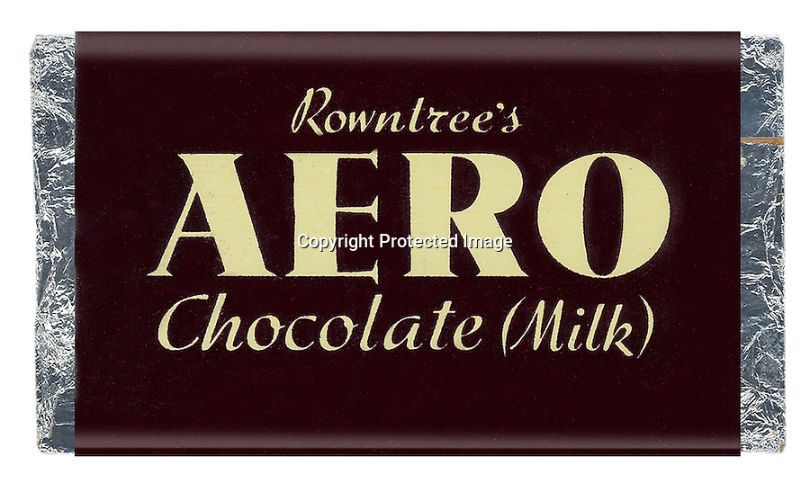 BNPS.co.uk (01202 558833)<br /> Picture: Nestle/BNPS<br /> <br /> ****Please use full byline****<br /> <br /> Aero chocolate.<br /> <br /> A selection of vintage chocolate and sweets wrappers have been unearthed to help trigger happy memories in dementia sufferers.<br /> <br /> Some of the earliest examples of the Rowntrees packaging dates from the 1920s and includes the first wrappers for famous treats such as Aero, Dairy Box, and Fruit Gums.<br /> <br /> As the brands were updated over the years the paper casing was gradually changed but examples of the early versions were stored in an archive.<br /> <br /> Historians at Rowntrees have now placed images of the packets on an online document so that they can be seen by dementia sufferers as a way to reminisce.