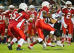 Lawndale, CA 09/26/14 - Jalen Walker (Lawndale #2) and Matthew Ho (Peninsula #52) in action during the Palos Verdes Peninsula vs Lawndale CIF Varsity football game at Lawndale High School.  Lawndale defeated Peninsula 42-21