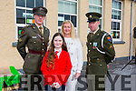 Irish defence forces  Lt Denis Sheahan and Gunner Noel Lynch with Kelly Meehan and mum Ethel Meehan, Kelly's Dad  Dermot Meehan  is serving in the Lebanon with the armed forces, at the presention of the Irish Tri Colour and proclamation to Scoil Mhuire Gan Smal,  Lixnaw on Thursday