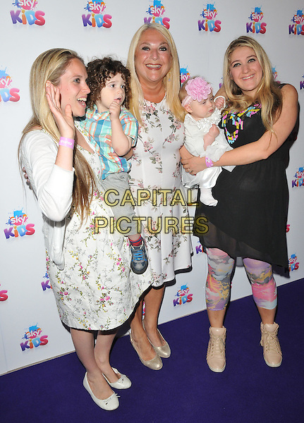 Vanessa Feltz ( middle ) with her daughters Allegra Kurer &amp; Saskia Kurer &amp; her grandchildren at the Sky Kids Cafe VIP launch party, The Vinyl Factory, Marshall Street, London, England, UK, on Sunday 29 May 2016.<br /> CAP/CAN<br /> &copy;CAN/Capital Pictures