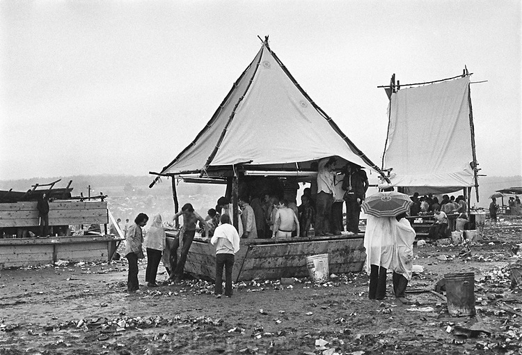 Rock Festival fans in the area near some concession stands at the rear of the field facing the stage after the Woodstock rock festival at Max Yasgur's 600 acre farm, in the rural town of Bethel, NY, on the weekend of August 16-18, 1969..