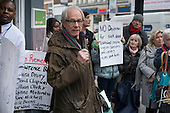 Film-maker Ken Loach. Vigil for Lawrence Bond, who died after being found fit for work and losing his disability benefits, Kentish Town Jobcentre London.