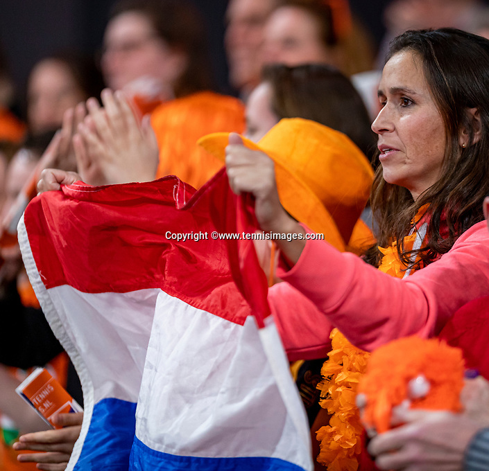 The Hague, The Netherlands, Februari 7, 2020,    Sportcampus, FedCup  Netherlands -  Balarus, Seccond match on friday:  Dutch supporter<br /> Photo: Tennisimages/Henk Koster
