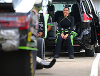 May 20, 2016; Topeka, KS, USA; NHRA funny car driver Alexis DeJoria during qualifying for the Kansas Nationals at Heartland Park Topeka. Mandatory Credit: Mark J. Rebilas-USA TODAY Sports