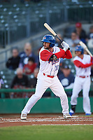 Stockton Ports second baseman Nate Mondou (10) at bat during a California League game against the Rancho Cucamonga Quakes at Banner Island Ballpark on May 16, 2018 in Stockton, California. Rancho Cucamonga defeated Stockton 6-3. (Zachary Lucy/Four Seam Images)