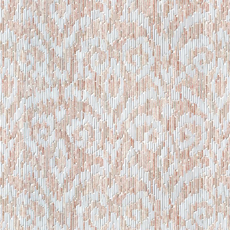 Indira, a hand-cut tumbled mosaic, shown in Desert Pink and Calacatta Tia.