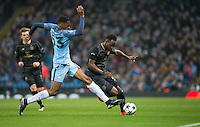Tosin Adarabioyo of Manchester City blocks Moussa Dembele of Celtic during the UEFA Champions League GROUP match between Manchester City and Celtic at the Etihad Stadium, Manchester, England on 6 December 2016. Photo by Andy Rowland.