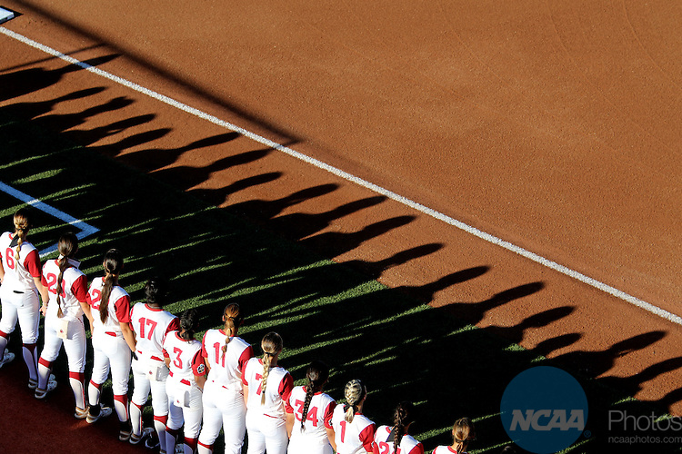 06 JUNE 2016: Oklahoma University is introduced before the start of the Division I Women's Softball Championship held at ASA Hall of Fame Stadium in Oklahoma City, OK.  University of Oklahoma defeated Auburn University in Game 1 by the final score of 3-2. Shane Bevel/NCAA Photos