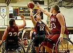 MARSHALL, MN - MARCH 15:  Emily Oberst #32 from Illinois shoots while being guarded by a trio of defenders including Barbara Gross #23 from Alabama at the 2018 National Intercollegiate Wheelchair Basketball Tournament at Southwest Minnesota State University in Marshall, MN. (Photo by Dave Eggen/Inertia)