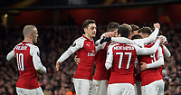 Aaron Ramsey of Arsenal celebrates scoring his second goal with teammates during the UEFA Europa League QF 1st leg match between Arsenal and CSKA Moscow  at the Emirates Stadium, London, England on 5 April 2018. Photo by Andrew Aleksiejczuk / PRiME Media Images.