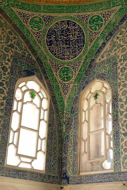 The Harem area of Istanbul's Topkapi Palace boasts of elaborate wall and ceiling decoration.