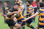 Mitchell Thackham run in to Riley Hohepa. Premier Counties Power Club Rugby Round 3, Counties Power Game of the Week, between Patumahoe and Bombay, played at Patumahoe on Saturday March 24th 2018. <br /> Photo by Richard Spranger.<br /> <br /> Patumahoe Counties Power Cup Holders won the game 26 - 23 after trailing 7 - 23 at halftime.<br /> Patumahoe 26 - Penalty try, Richard Taupaki, Theodore Solipo, Craig Jones tries; Riley Hohepa 2 conversions. <br /> Bombay 23 - Shaun Muir, Jordan Goldsmith, Liam Daniela, tries; Tim Cossens conversion; Tim Cossens 2 penalties.