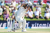 21st November 2019; Mt Maunganui, New Zealand;  England's Ben Stokes plays forward, international test match cricket, Day 1, New Zealand versus England at Bay Oval, Mt Maunganui, New Zealand.