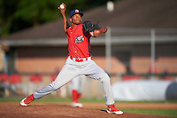 Williamsport Crosscutters starting pitcher Felix Paulino (27) delivers a pitch during a game against the Auburn Doubledays on June 25, 2016 at Falcon Park in Auburn, New York.  Auburn defeated Williamsport 5-4.  (Mike Janes/Four Seam Images)