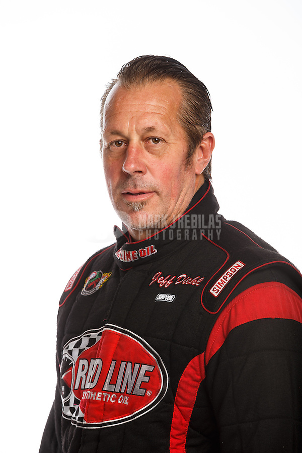 Feb 10, 2016; Pomona, CA, USA; NHRA funny car driver Jeff Diehl poses for a portrait during media day at Auto Club Raceway at Pomona. Mandatory Credit: Mark J. Rebilas-USA TODAY Sports