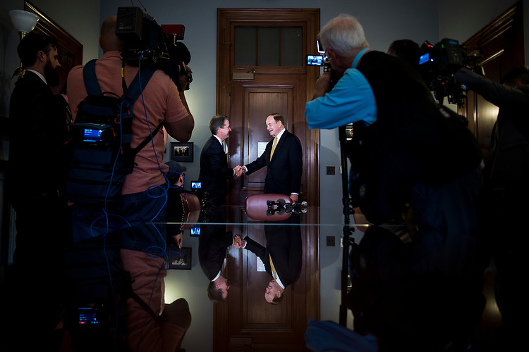 UNITED STATES – JULY 30: Supreme Court nominee Brett Kavanaugh and Richard Shelby, R-Ala., shake hands  in his office in the Russell Office Building Monday July 30, 2018.  (Photo By Sarah Silbiger/CQ Roll Call)