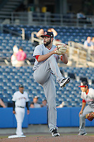 Louisville Bats pitcher Cody Reed (26) on the mound during a game against the Norfolk Tides at Harbor Park on April 26, 2016 in Norfolk, Virginia. Louisville defeated defeated Norfolk 7-2. (Robert Gurganus/Four Seam Images)