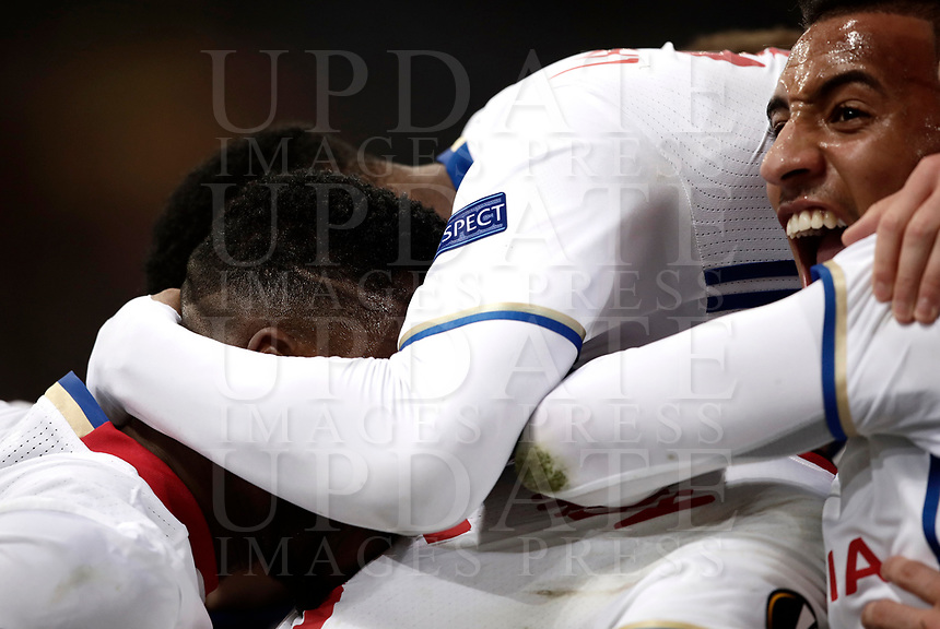 Football Soccer: Europa League Round of 16 second leg, Roma-Lyon, stadio Olimpico, Roma, Italy, March 16,  2017. <br /> Lyon's Mounter Diakhaby (l) celebrates after scoring with his teammates during the Europe League football soccer match between Roma and Lyon at the Olympique stadium, March 16,  2017. <br /> Despite losing 2-1, Lyon reach the quarter finals for 5-4 aggregate win.<br /> UPDATE IMAGES PRESS/Isabella Bonotto