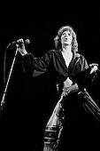 "Chicago, Illinois<br /> July 23, 1975<br /> USA<br /> <br /> Lead singer Mick Jagger of the Rolling Stones performs live at Chicago Stadium during the band's ""Rolling Stones Tour of the Americas '75"".<br /> <br /> This was the Stones first tour with new guitarist Ronnie Wood, after Mick Taylor left the band. The Stones, with their usual act freshly aided by theatrical stage props including a giant inflatable phallus (nicknamed 'Tired Grandfather' by the band, since it sometimes malfunctioned) and, at the Chicago shows, an unfolding lotus flower-shaped stage that Charlie Watts had conceived.<br /> <br /> The band was composed of  Mick Jagger - vocals, guitar, harmonica, Keith Richards - guitar, vocals, Bill Wyman - bass guitar, and Charlie Watts - drums, percussion. <br /> <br /> Additional musicians included: Ronnie Wood - guitar, backing vocals, Ian Stewart - piano, Billy Preston - keyboards, vocals and Ollie Brown - percussion."