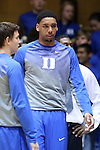 04 November 2014: Duke freshman Jahlil Okafor warms up before his first basketball game at Cameron Indoor. The Duke University Blue Devils hosted the Livingstone College Blue Bears at Cameron Indoor Stadium in Durham, North Carolina in an NCAA Men's Basketball exhibition game.