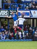Anthony Stewart of Wycombe Wanderers and Noel Hunt of Portsmouth during the FA Cup 1st round match between Portsmouth and Wycombe Wanderers at Fratton Park, Portsmouth, England on the 5th November 2016. Photo by Liam McAvoy.