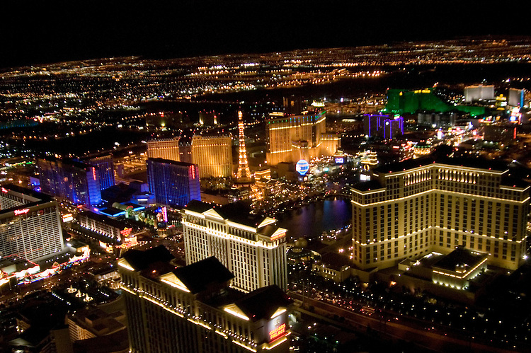 Aerial view las vegas strip was specially