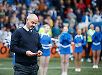 19.05.2019 Kilmarnock v Rangers: Steve Clarke on his phone