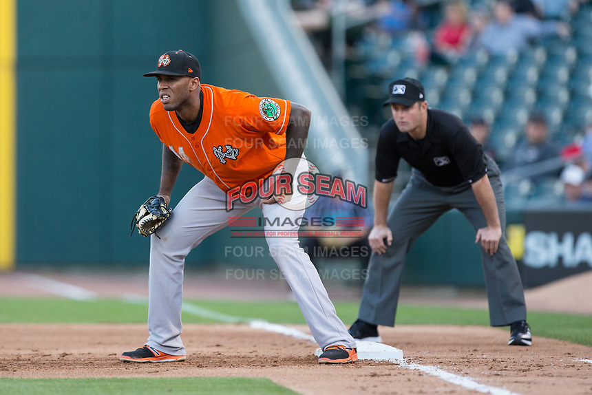 Norfolk Tides first baseman David Washington (44) on defense against the Charlotte Knights at BB&T BallPark on May 2, 2017 in Charlotte, North Carolina.  The Knights defeated the Tides 8-3.  (Brian Westerholt/Four Seam Images)