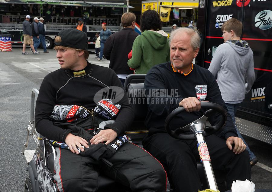 May 3, 2013; Commerce, GA, USA: NHRA funny car driver Blake Alexander (left) with his father during the Southern Nationals at Atlanta Dragway. Mandatory Credit: Mark J. Rebilas-