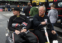 May 3, 2013; Commerce, GA, USA: NHRA funny car driver Blake Alexander (left) with his father during the Southern Nationals at Atlanta Dragway. Mandatory Credit: Mark J. Rebilas-