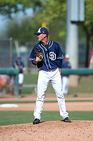 San Diego Padres relief pitcher Noel Vela (54) looks in for the sign during an Instructional League game against the Los Angeles Dodgers at Camelback Ranch on September 25, 2018 in Glendale, Arizona. (Zachary Lucy/Four Seam Images)