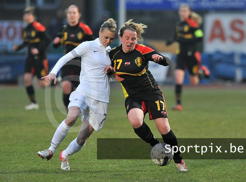 France U19 - Belgium U19 : .Faustine Robert (links) en Lucinda Michez.foto DAVID CATRY / Nikonpro.be