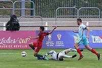 Turkey U21 goalkeeper, Altay Bayindir, is deemed to have fouled Portugal U19's Joao Filipe and a penalty is awarded during Portugal Under-19 vs Turkey Under-21, Tournoi Maurice Revello Football at Stade Parsemain on 3rd June 2018