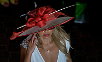 LOUISVILLE, KY - MAY 04: A woman wears a fancy hat on Kentucky Oaks Day at Churchill Downs on May 4, 2018 in Louisville, Kentucky. (Photo by Scott Serio/Eclipse Sportswire/Getty Images)