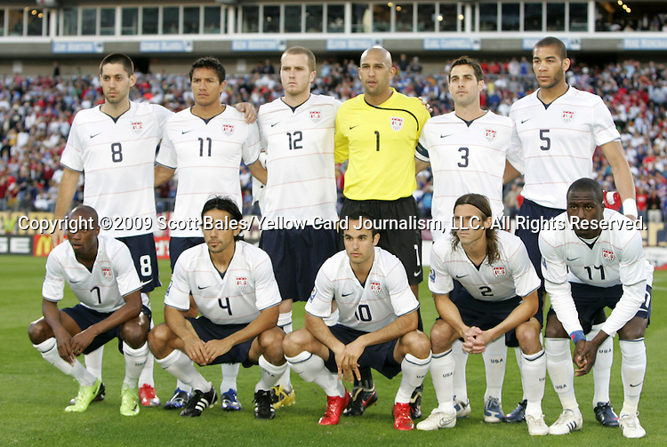 01 April 2009: U.S. starters pose for a team photo. Front row (l to r): DaMarcus Beasley (USA), Pablo Mastroeni (USA), Landon Donovan (USA), Frankie Hejduk (USA), Jozy Altidore (USA). Back row (l to r): Clint Dempsey (USA), Brian Ching (USA), Michael Bradley (USA), Tim Howard (USA), Carlos Bocanegra (USA), Oguchi Onyewu (USA). The United States Men's National Team defeated the Trinidad and Tobago Men's National Team 3-0 at LP Field in Nashville, Tennessee in the Hexagonal, the final CONCACAF round, a FIFA 2010 South Africa World Cup Qualifier.