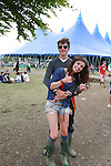 Aisling Glynn and Leo Regan on Day 2 of the Oxegen Festival, Punchestown, Co.Kildare...(Photo credit should read Jenny Matthews www.newsfile.ie)....This Picture has been sent you under the conditions enclosed by:.Newsfile Ltd..The Studio,.Millmount Abbey,.Drogheda,.Co Meath..Ireland..Tel: +353(0)41-9871240.Fax: +353(0)41-9871260.GSM: +353(0)86-2500958.email: pictures@newsfile.ie.www.newsfile.ie.
