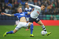 Preston North End's Brad Potts under pressure from Birmingham City's Kristian Pedersen<br /> <br /> Photographer Kevin Barnes/CameraSport<br /> <br /> The EFL Sky Bet Championship - Preston North End v Birmingham City - Saturday 16th March 2019 - Deepdale Stadium - Preston<br /> <br /> World Copyright &copy; 2019 CameraSport. All rights reserved. 43 Linden Ave. Countesthorpe. Leicester. England. LE8 5PG - Tel: +44 (0) 116 277 4147 - admin@camerasport.com - www.camerasport.com