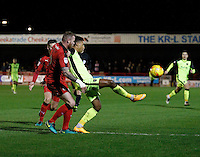 Exeter City's Ollie Watkins controls under pressure from Crawley Town's Mark Connolly during the Sky Bet League 2 match between Crawley Town and Exeter City at Broadfield Stadium, Crawley, England on 28 February 2017. Photo by Carlton Myrie / PRiME Media Images.
