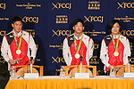 (L to R) Mashu Baker, Shohei Ono and Haruka Tachimoto attends a news conference at the Foreign Correspondents' Club of Japan on August 30, 2016, Tokyo, Japan. The three gold medalist judokas spoke about the Rio 2016 Olympic Games, where Japan captured a record 12 medals in this discipline, and their hopes and plans for Tokyo 2020. (Photo by Rodrigo Reyes Marin/AFLO)