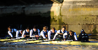 "London; GREAT BRITAIN; Oxford University Trial Eights for crew selection for 157th Boat Race [April 2011] Nurture after winning the trial.  raced over the Championship Course Putney to Mortlake  on the River Thames. Wednesday  - 08/12/2010   [Mandatory Credit; ""Photo, Peter Spurrier/Intersport-images].Crew OUBC Nurture Middx Station [White Tops].Bow, George BLESSLEY, 2. Matt POINTING, 3. Alex WOODS, 4. Alex DENT, 5. Ben ELLISON,6. Simon HISLOP, 7. George WHITTAKER, Stroke Ben SNODIN and Cox Hannah LEADBETTER.."