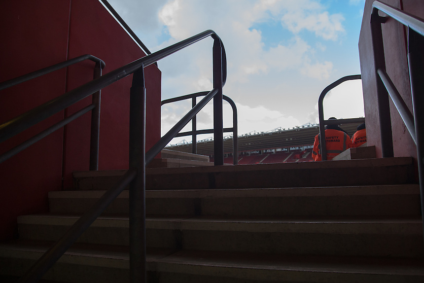 Steps from the concourse leading upto the main stand at the St Mary's stadium<br /> <br /> Photographer James Williamson/CameraSport<br /> <br /> The Premier League - Southampton v Burnley - Sunday 16th October 2016 - St Mary's Stadium - Southampton<br /> <br /> World Copyright &copy; 2016 CameraSport. All rights reserved. 43 Linden Ave. Countesthorpe. Leicester. England. LE8 5PG - Tel: +44 (0) 116 277 4147 - admin@camerasport.com - www.camerasport.com