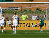 Los Angeles Sol goalkeeper Karina LeBlanc (23) makes a save on a penalty kick attempt by St Louis Athletica midfielder Lori Chalupny (17) during a WPS match at Hermann Stadium, in St. Louis, MO, April 25 2009. The match ended in a 0-0 tie.