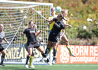 Shannon Boxx goes up for the header. FC Gold Pride defeated the Philadelphia Independence 4-0 to win the 2010 WPS Championship at Pioneer Stadium in Hayward, California on September 26th, 2010.