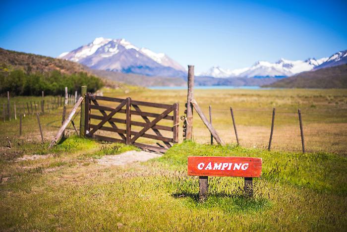Camping site at Estancia La Oriental, Perito Moreno National Park, Santa Cruz Province, Patagonia, Argentina