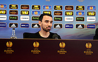 Pictured: Footballer Leon Britton. Wednesday 19 February 2014<br /> Re: Swansea City FC press conference ahead of tomorrow's UEFA Europa League game against Napoli at the Liberty Stadium, south Wales, UK