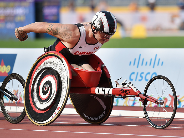 Toronto, ON - Aug 14 2015 - Joshua Cassidy competes in the Men's 1500m T54 Final in the CIBC Athletics Stadium during the Toronto 2015 Parapan American Games  (Photo: Matthew Murnaghan/Canadian Paralympic Committee)