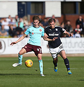 30th September 2017, Dens Park, Dundee, Scotland; Scottish Premier League football, Dundee versus Hearts; Hearts' Harry Cochrane and Dundee's Paul McGowan