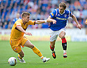 RANGERS' NIKICA JELAVIC TRIES TO GET PAST MOTHERWELL'S SHAUN HUTCHINSON