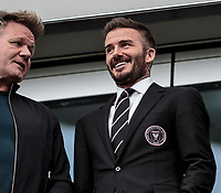 LOS ANGELES, CA - MARCH 01: Foodie Gordon Ramsay and David Beckham owner of Inter Miami CF chat while looking on from his box during a game between Inter Miami CF and Los Angeles FC at Banc of California Stadium on March 01, 2020 in Los Angeles, California.