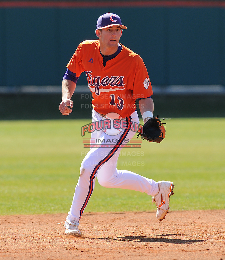 Infielder Brad Miller (13) of the Clemson Tigers prior to a game against the Wright State Raiders Saturday, Feb. 27, 2011, at Doug Kingsmore Stadium in Clemson, S.C. Miller is ranked No. 29 on Baseball America's list of top college sophomore prospects. Photo by: Tom Priddy/Four Seam Images